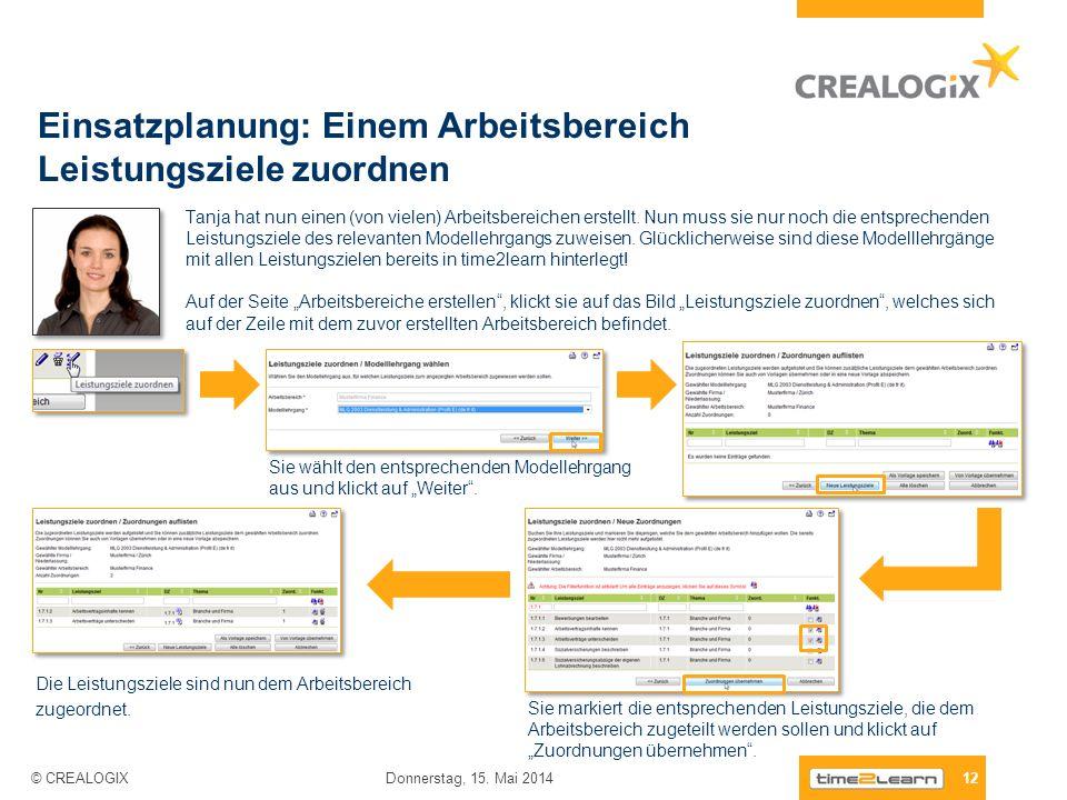 Einsatzplanung: Einem Arbeitsbereich Leistungsziele zuordnen 12 Donnerstag, 15. Mai 2014 © CREALOGIX Tanja hat nun einen (von vielen) Arbeitsbereichen