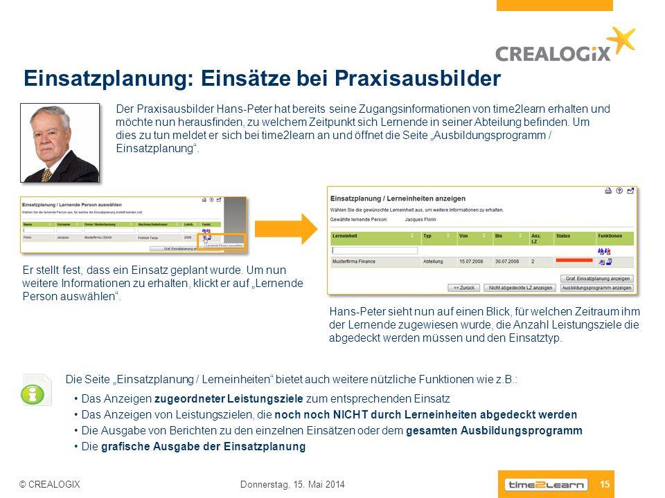 Einsatzplanung: Einsätze bei Praxisausbilder 15 Donnerstag, 15. Mai 2014 © CREALOGIX Der Praxisausbilder Hans-Peter hat bereits seine Zugangsinformati