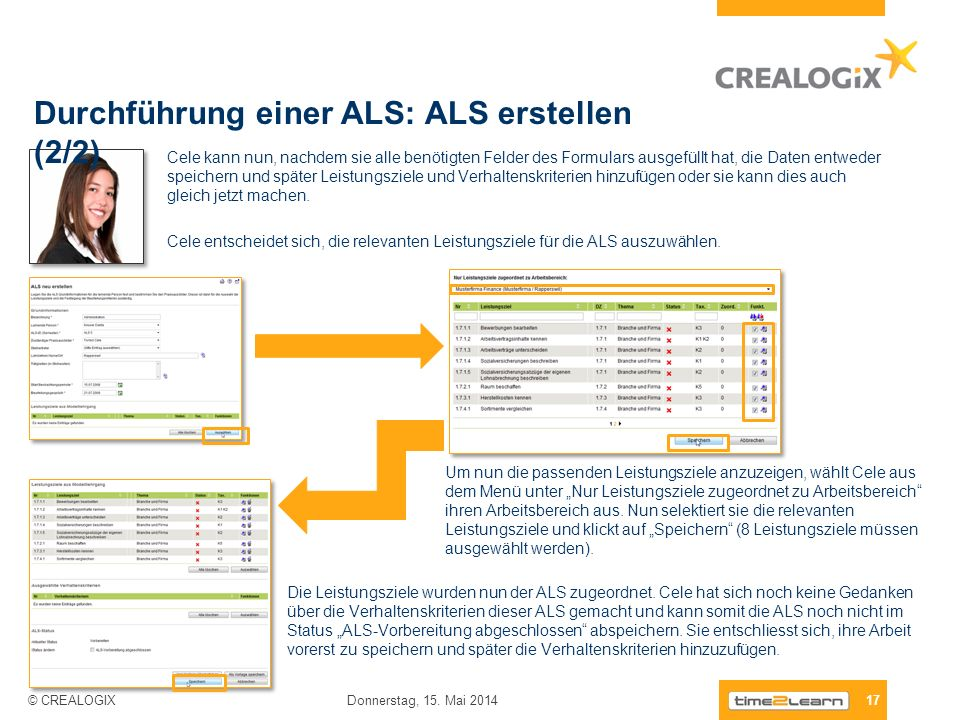 Durchführung einer ALS: ALS erstellen (2/2) 17 Donnerstag, 15. Mai 2014 © CREALOGIX Cele kann nun, nachdem sie alle benötigten Felder des Formulars au