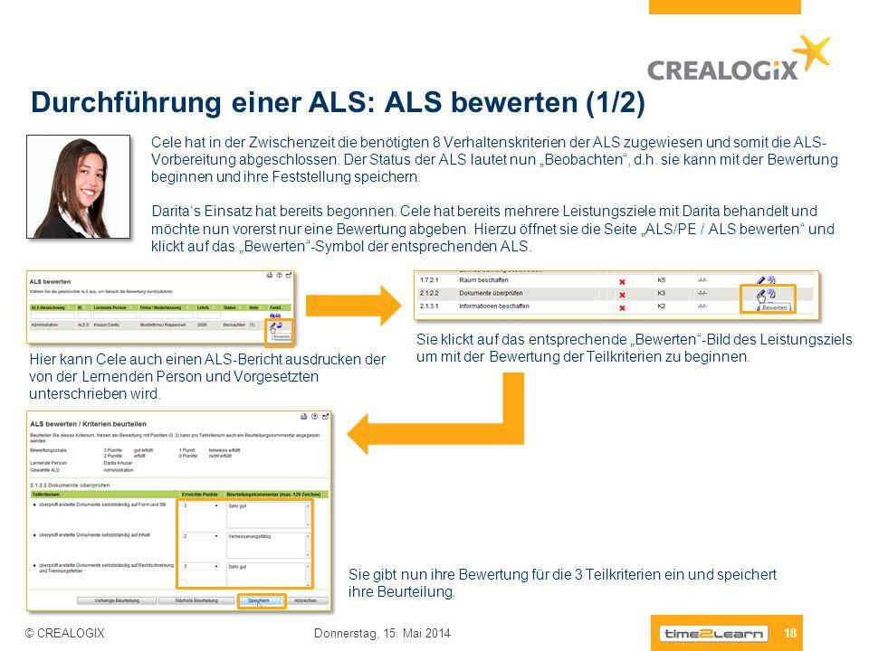 Durchführung einer ALS: ALS bewerten (1/2) 18 Donnerstag, 15. Mai 2014 © CREALOGIX Cele hat in der Zwischenzeit die benötigten 8 Verhaltenskriterien d