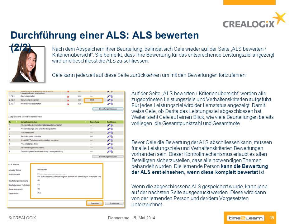 Durchführung einer ALS: ALS bewerten (2/2) 19 Donnerstag, 15. Mai 2014 © CREALOGIX Nach dem Abspeichern ihrer Beurteilung, befindet sich Cele wieder a