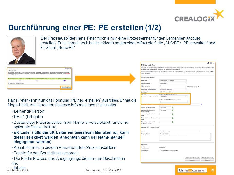 Durchführung einer PE: PE erstellen (1/2) 20 Donnerstag, 15. Mai 2014 © CREALOGIX Der Praxisausbilder Hans-Peter möchte nun eine Prozesseinheit für de
