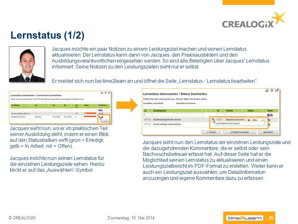 Lernstatus (1/2) 25 Donnerstag, 15. Mai 2014 © CREALOGIX Jacques möchte ein paar Notizen zu einem Leistungsziel machen und seinen Lernstatus aktualisi