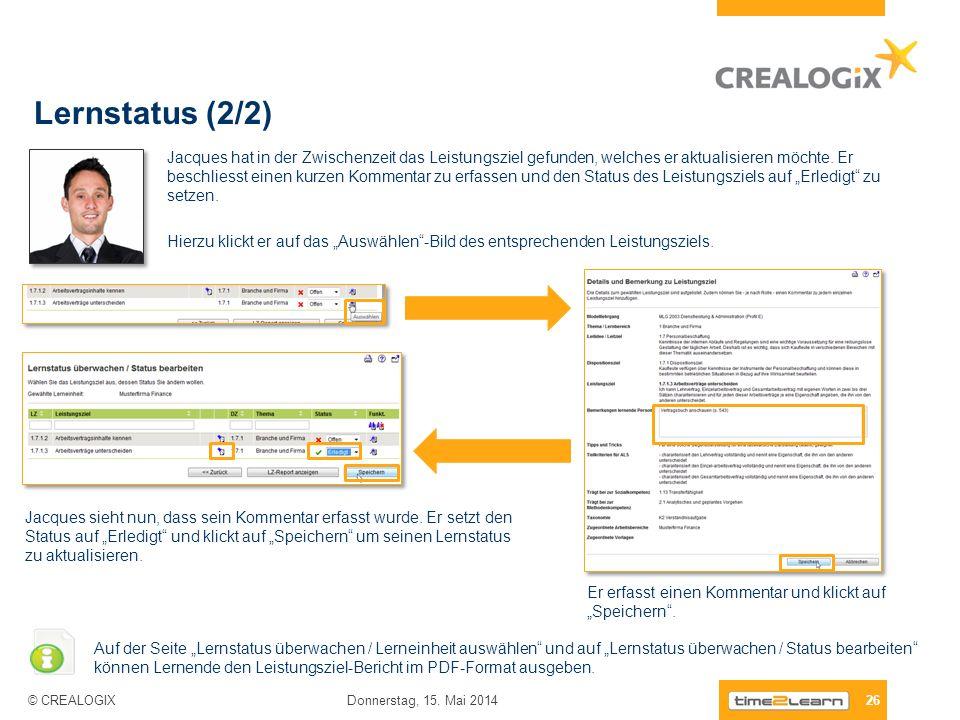 Lernstatus (2/2) 26 Donnerstag, 15. Mai 2014 © CREALOGIX Jacques hat in der Zwischenzeit das Leistungsziel gefunden, welches er aktualisieren möchte.