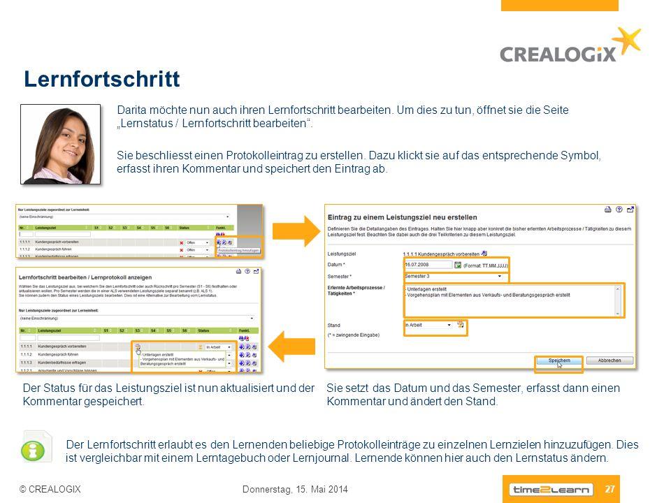 Lernfortschritt 27 Donnerstag, 15. Mai 2014 © CREALOGIX Darita möchte nun auch ihren Lernfortschritt bearbeiten. Um dies zu tun, öffnet sie die Seite