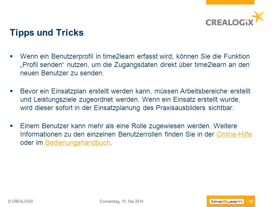 Tipps und Tricks Wenn ein Benutzerprofil in time2learn erfasst wird, können Sie die Funktion Profil senden nutzen, um die Zugangsdaten direkt über tim