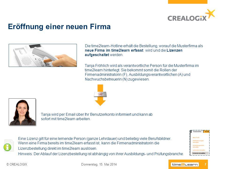 Eröffnung einer neuen Firma 7 Donnerstag, 15. Mai 2014 © CREALOGIX Die time2learn-Hotline erhält die Bestellung, worauf die Musterfirma als neue Firma