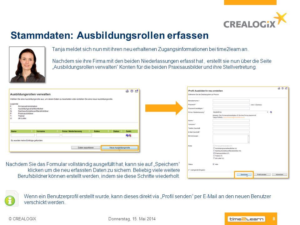 Stammdaten: Ausbildungsrollen erfassen 8 Donnerstag, 15. Mai 2014 © CREALOGIX Tanja meldet sich nun mit ihren neu erhaltenen Zugangsinformationen bei