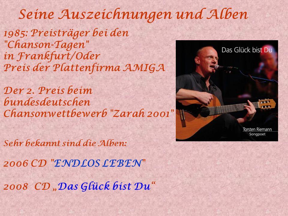 Torsten Riemann Torsten Riemann ist 1964 geboren. Bereits mit 4 Jahren trat er in diversen Rollen am Berliner Ensemble auf. 1995 wurde die Formation T