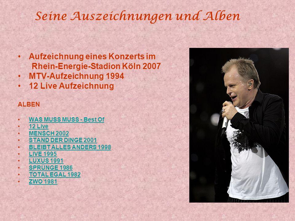 Herbert Grönemeyer Einer der beliebtesten Künstler Deutschlands Herbert Grönemeyer wurde in Göttingen 1956 geboren und wuchs in Bochum auf. Sein Werde