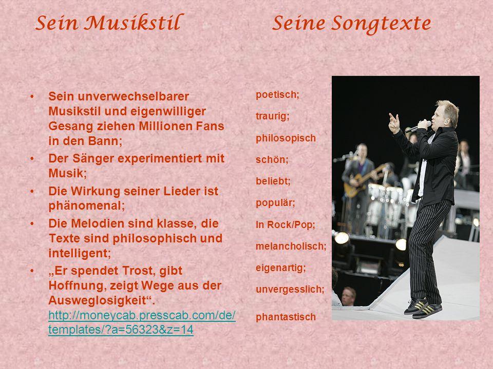 Seine Auszeichnungen und Alben Aufzeichnung eines Konzerts im Rhein-Energie-Stadion Köln 2007 MTV-Aufzeichnung 1994 12 Live Aufzeichnung ALBEN WAS MUS