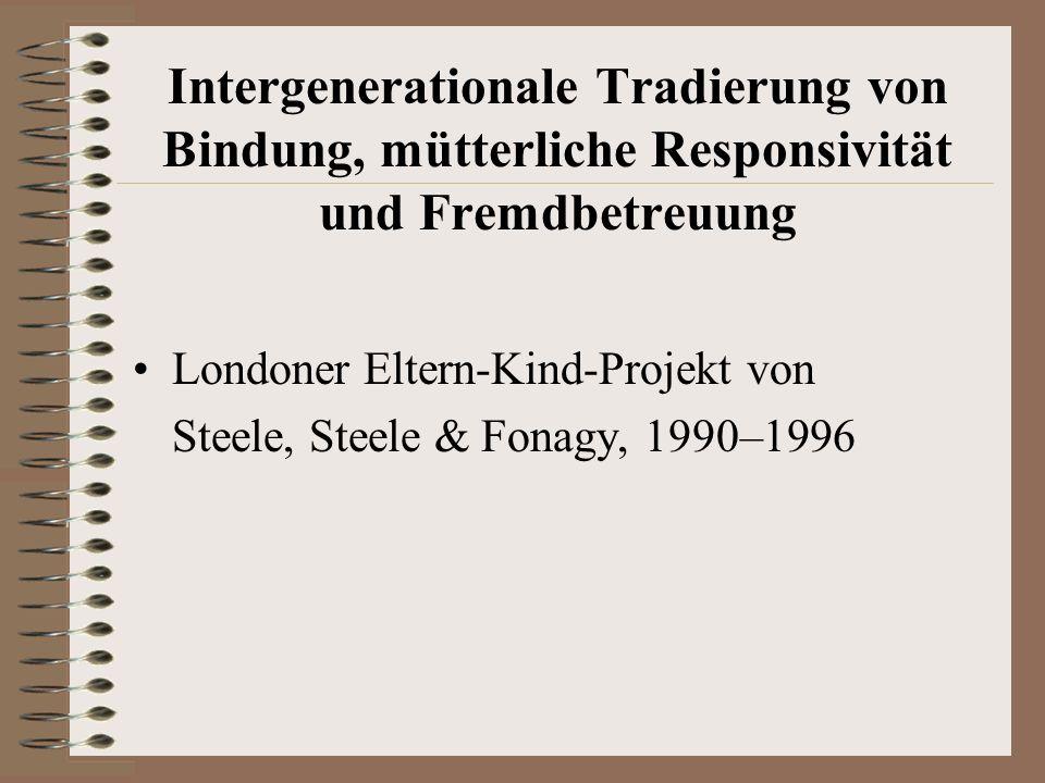 Intergenerationale Tradierung von Bindung, mütterliche Responsivität und Fremdbetreuung Londoner Eltern-Kind-Projekt von Steele, Steele & Fonagy, 1990–1996