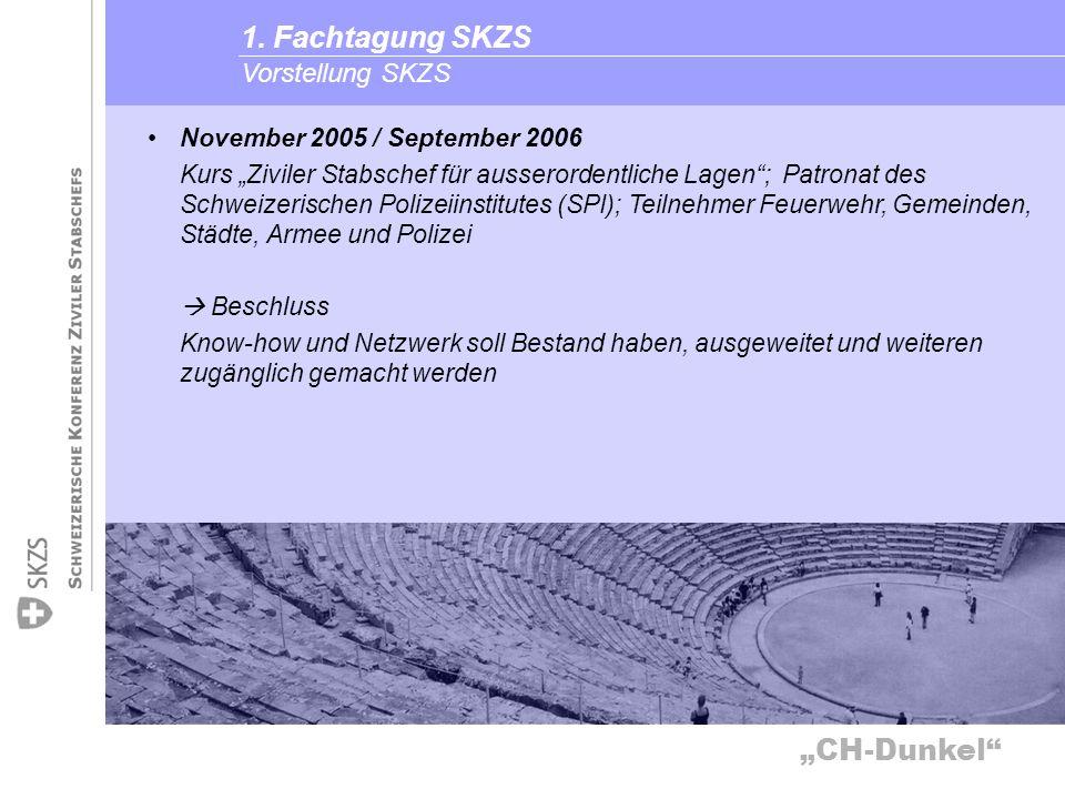 CH-Dunkel Vorstellung SKZS 1. Fachtagung SKZS November 2005 / September 2006 Kurs Ziviler Stabschef für ausserordentliche Lagen; Patronat des Schweize