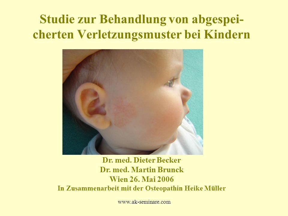www.ak-seminare.com Studie zur Behandlung von abgespei- cherten Verletzungsmuster bei Kindern Dr. med. Dieter Becker Dr. med. Martin Brunck Wien 26. M