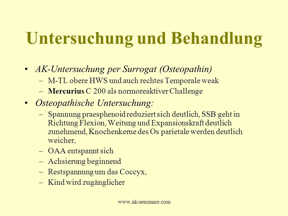 www.ak-seminare.com Untersuchung und Behandlung AK-Untersuchung per Surrogat (Osteopathin) –M-TL obere HWS und auch rechtes Temporale weak –Mercurius