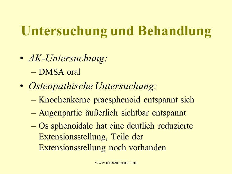 www.ak-seminare.com AK-Untersuchung: –DMSA oral Osteopathische Untersuchung: –Knochenkerne praesphenoid entspannt sich –Augenpartie äußerlich sichtbar