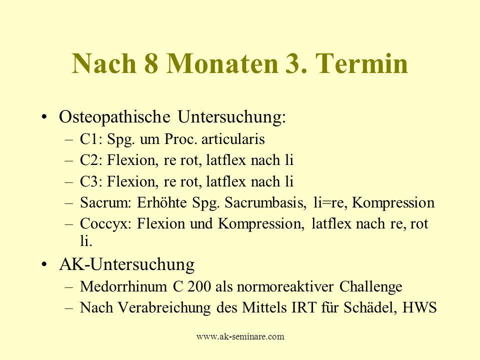 www.ak-seminare.com Nach 8 Monaten 3. Termin Osteopathische Untersuchung: –C1: Spg. um Proc. articularis –C2: Flexion, re rot, latflex nach li –C3: Fl