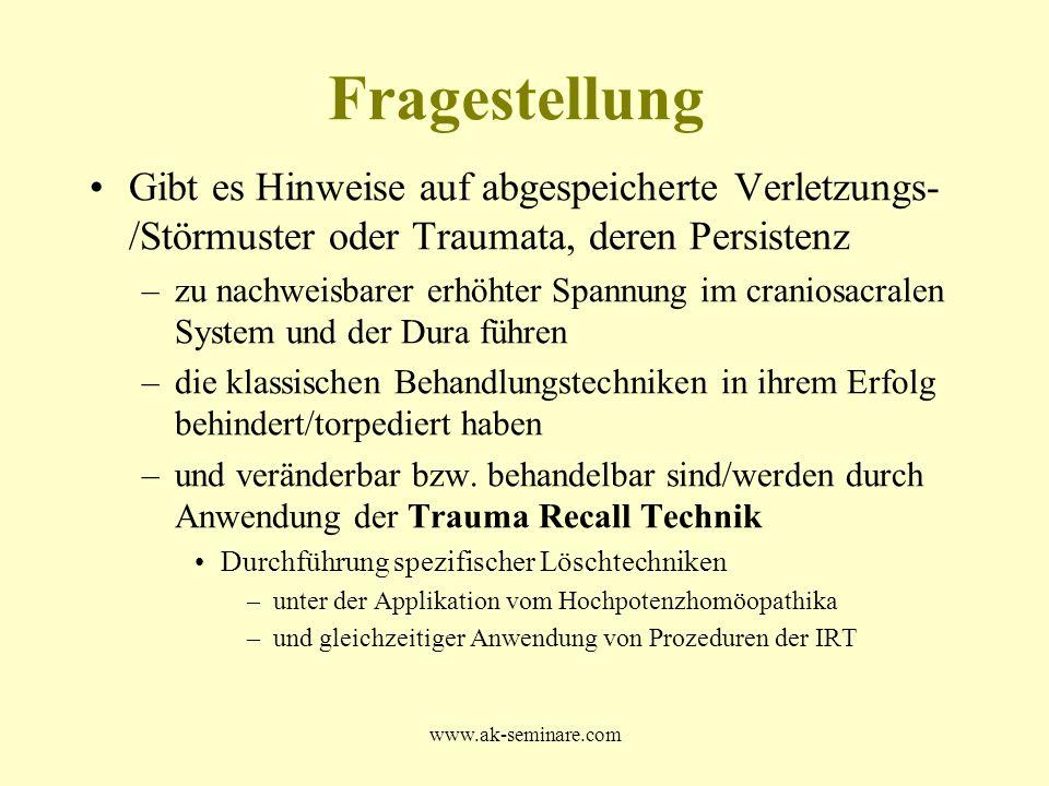 www.ak-seminare.com Fragestellung Gibt es Hinweise auf abgespeicherte Verletzungs- /Störmuster oder Traumata, deren Persistenz –zu nachweisbarer erhöh