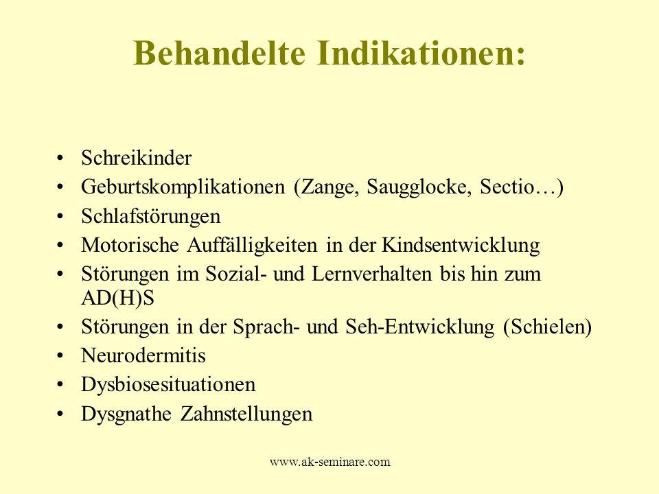 www.ak-seminare.com Behandelte Indikationen: Schreikinder Geburtskomplikationen (Zange, Saugglocke, Sectio…) Schlafstörungen Motorische Auffälligkeite