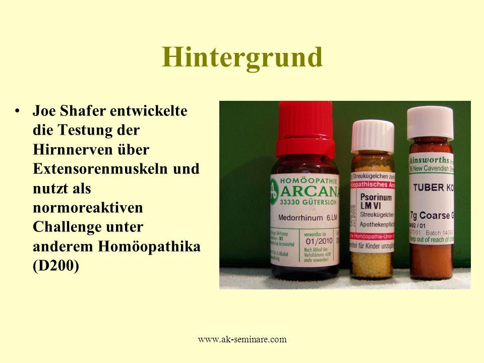 www.ak-seminare.com Hintergrund Joe Shafer entwickelte die Testung der Hirnnerven über Extensorenmuskeln und nutzt als normoreaktiven Challenge unter