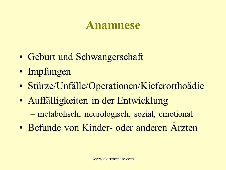www.ak-seminare.com Anamnese Geburt und Schwangerschaft Impfungen Stürze/Unfälle/Operationen/Kieferorthoädie Auffälligkeiten in der Entwicklung –metab