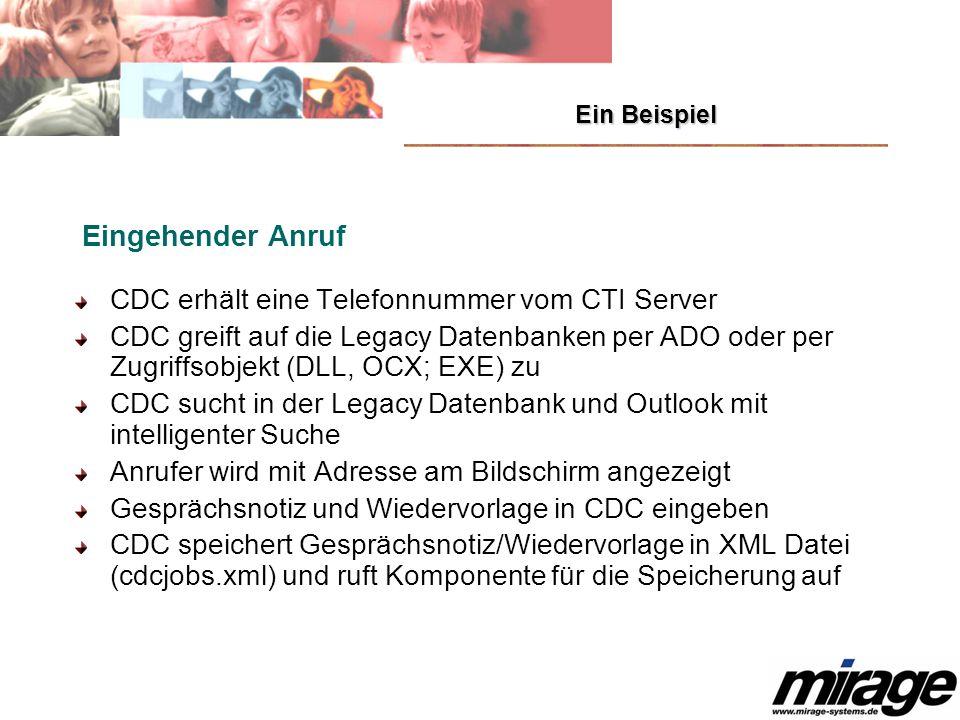 Ein Beispiel Eingehender Anruf CDC erhält eine Telefonnummer vom CTI Server CDC greift auf die Legacy Datenbanken per ADO oder per Zugriffsobjekt (DLL