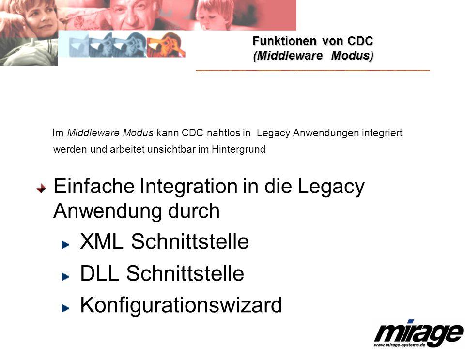 Funktionen von CDC (Middleware Modus) Im Middleware Modus kann CDC nahtlos in Legacy Anwendungen integriert werden und arbeitet unsichtbar im Hintergr