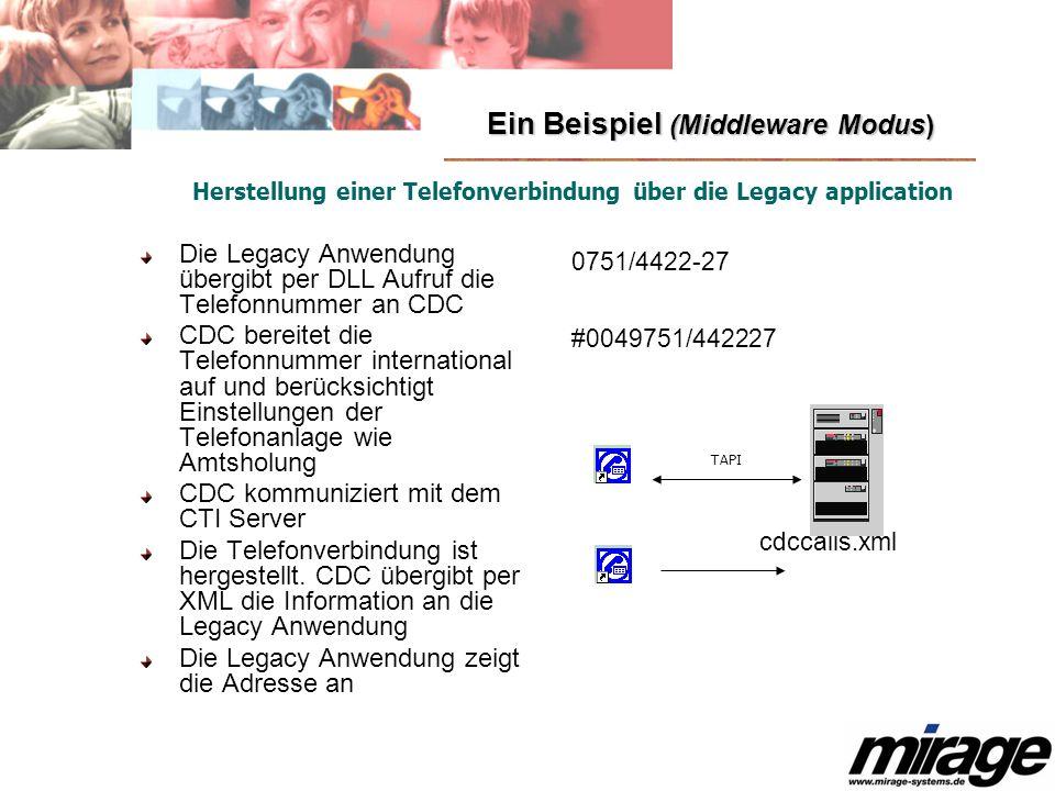 Ein Beispiel (Middleware Modus) Die Legacy Anwendung übergibt per DLL Aufruf die Telefonnummer an CDC CDC bereitet die Telefonnummer international auf