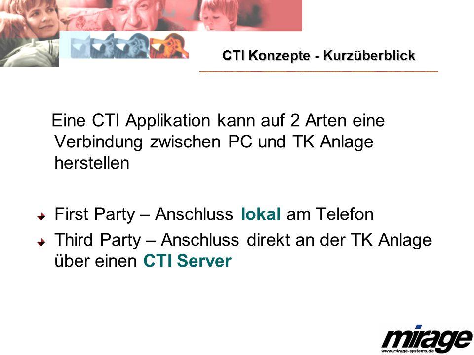 CTI Konzepte - Kurzüberblick Eine CTI Applikation kann auf 2 Arten eine Verbindung zwischen PC und TK Anlage herstellen First Party – Anschluss lokal