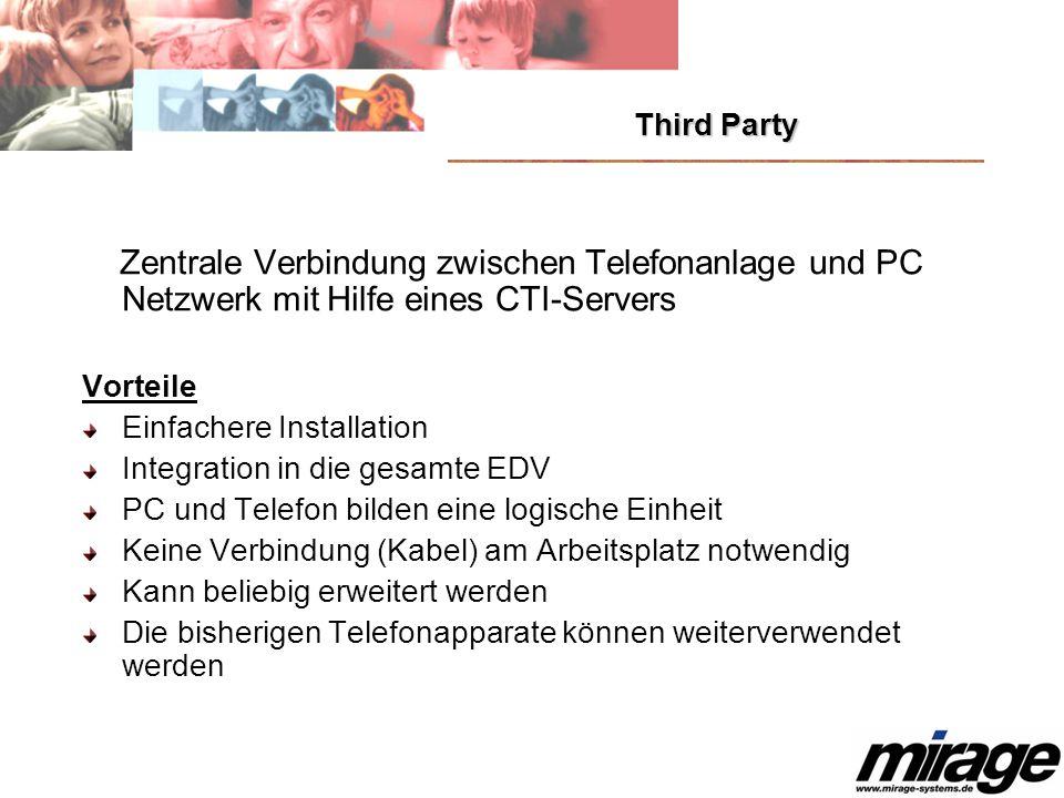 Third Party Zentrale Verbindung zwischen Telefonanlage und PC Netzwerk mit Hilfe eines CTI-Servers Vorteile Einfachere Installation Integration in die