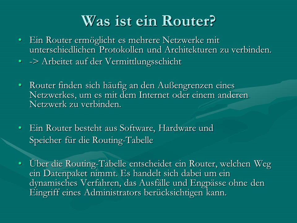 RIP-Verfahren (Routing Information Protocol) Auf Basis des Distance Vector AlgorithmusAuf Basis des Distance Vector Algorithmus Es dient der dynamischen Erstellung der Routing-Tabelle von Routern.Es dient der dynamischen Erstellung der Routing-Tabelle von Routern.