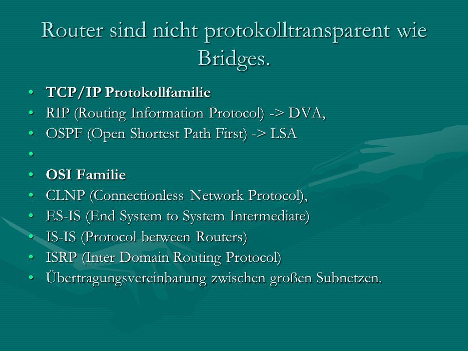 Router sind nicht protokolltransparent wie Bridges. TCP/IP ProtokollfamilieTCP/IP Protokollfamilie RIP (Routing Information Protocol) -> DVA,RIP (Rout