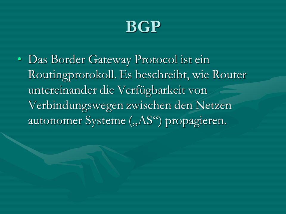 BGP Das Border Gateway Protocol ist ein Routingprotokoll. Es beschreibt, wie Router untereinander die Verfügbarkeit von Verbindungswegen zwischen den