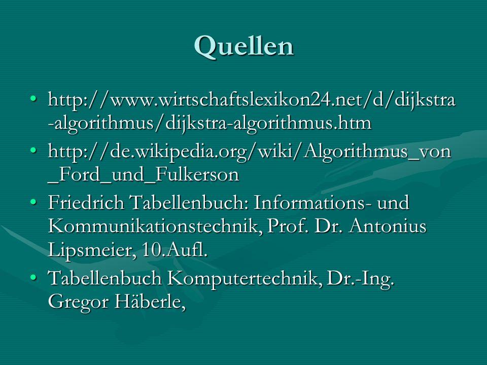 Quellen http://www.wirtschaftslexikon24.net/d/dijkstra -algorithmus/dijkstra-algorithmus.htmhttp://www.wirtschaftslexikon24.net/d/dijkstra -algorithmus/dijkstra-algorithmus.htm http://de.wikipedia.org/wiki/Algorithmus_von _Ford_und_Fulkersonhttp://de.wikipedia.org/wiki/Algorithmus_von _Ford_und_Fulkerson Friedrich Tabellenbuch: Informations- und Kommunikationstechnik, Prof.