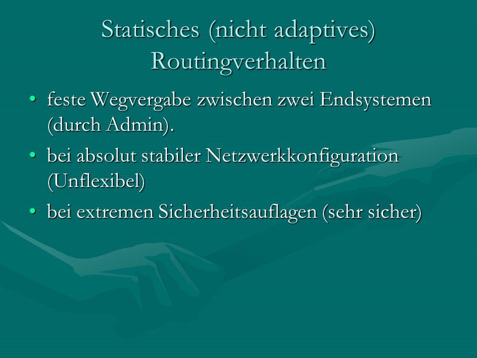 Statisches (nicht adaptives) Routingverhalten feste Wegvergabe zwischen zwei Endsystemen (durch Admin).feste Wegvergabe zwischen zwei Endsystemen (durch Admin).