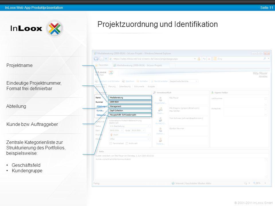 Seite 11 InLoox Web App Produktpräsentation © 2001-2011 InLoox GmbH Projektzuordnung und Identifikation Eindeutige Projektnummer, Format frei definier