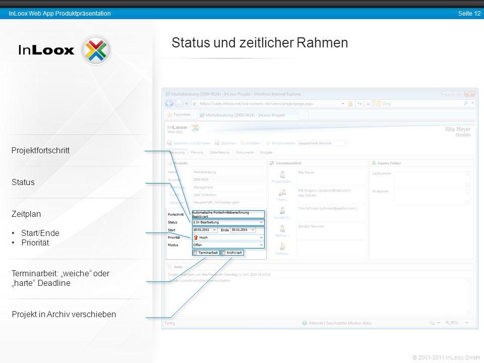 Seite 12 InLoox Web App Produktpräsentation © 2001-2011 InLoox GmbH Status und zeitlicher Rahmen Projekt in Archiv verschieben Status Zeitplan Start/E
