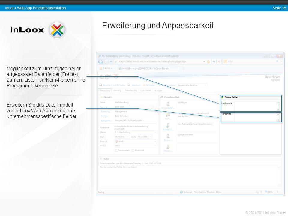 Seite 15 InLoox Web App Produktpräsentation © 2001-2011 InLoox GmbH Erweiterung und Anpassbarkeit Erweitern Sie das Datenmodell von InLoox Web App um