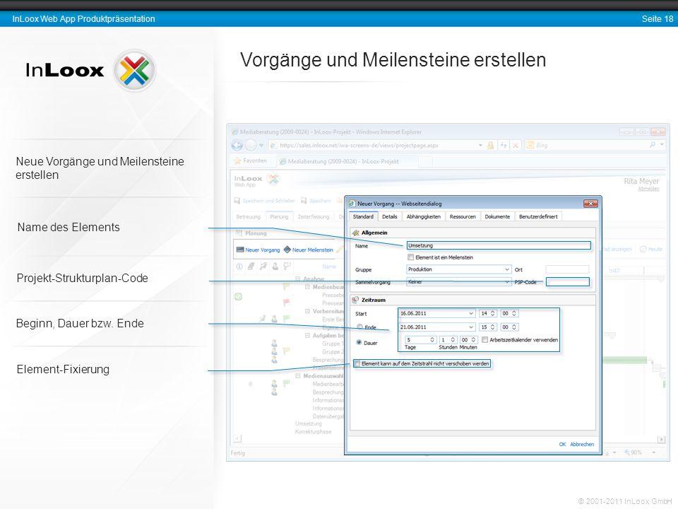 Seite 18 InLoox Web App Produktpräsentation © 2001-2011 InLoox GmbH Vorgänge und Meilensteine erstellen Element-Fixierung Neue Vorgänge und Meilenstei