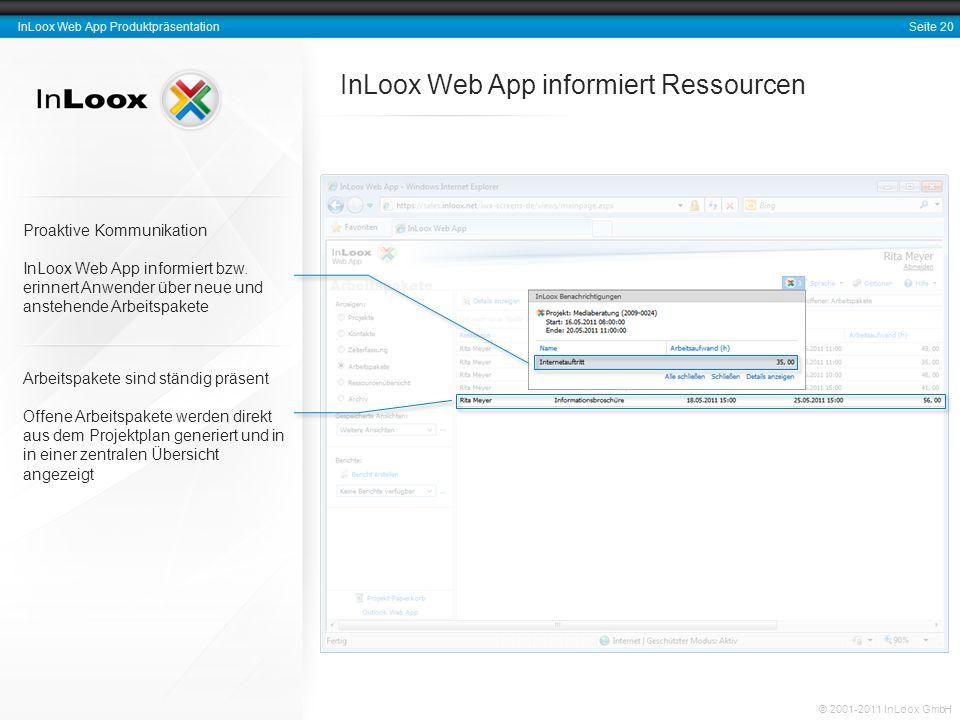 Seite 20 InLoox Web App Produktpräsentation © 2001-2011 InLoox GmbH InLoox Web App informiert Ressourcen Arbeitspakete sind ständig präsent Offene Arb
