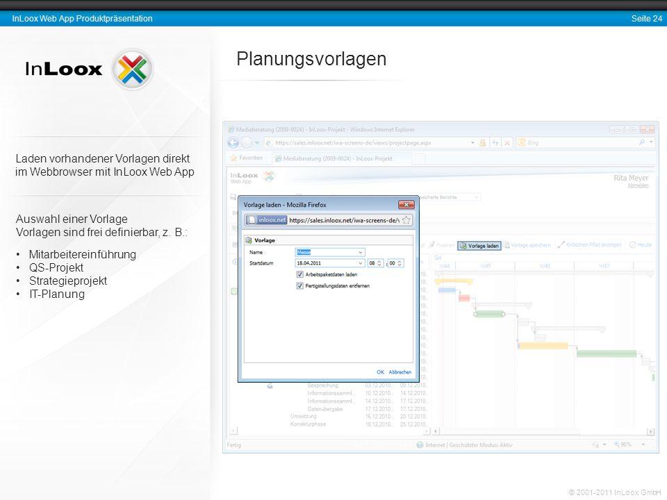 Seite 24 InLoox Web App Produktpräsentation © 2001-2011 InLoox GmbH Planungsvorlagen Auswahl einer Vorlage Vorlagen sind frei definierbar, z. B.: Mita