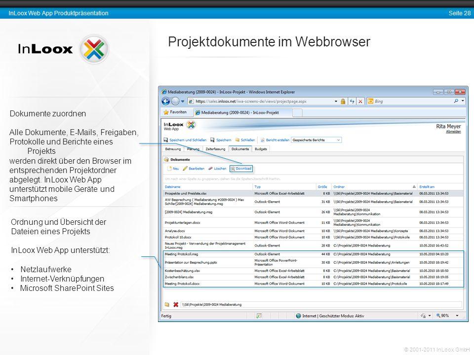 Seite 28 InLoox Web App Produktpräsentation © 2001-2011 InLoox GmbH Dokumente zuordnen Alle Dokumente, E-Mails, Freigaben, Protokolle und Berichte ein