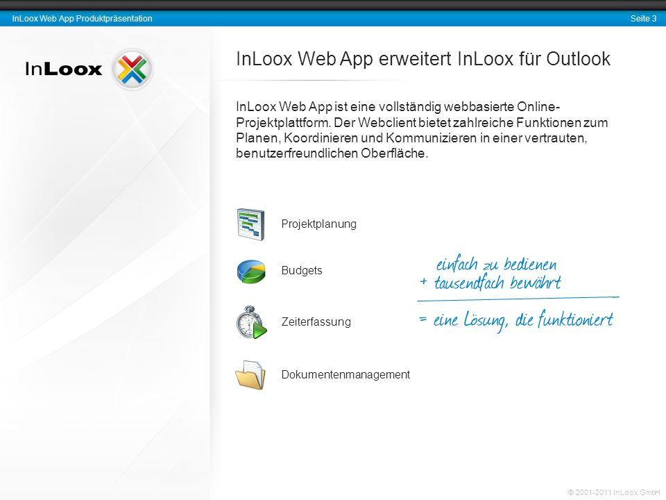 Seite 3 InLoox Web App Produktpräsentation © 2001-2011 InLoox GmbH InLoox Web App erweitert InLoox für Outlook InLoox Web App ist eine vollständig web