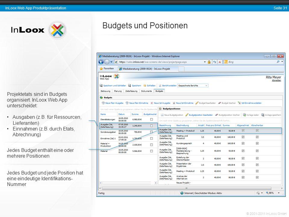 Seite 31 InLoox Web App Produktpräsentation © 2001-2011 InLoox GmbH Budgets und Positionen Projektetats sind in Budgets organisiert. InLoox Web App un