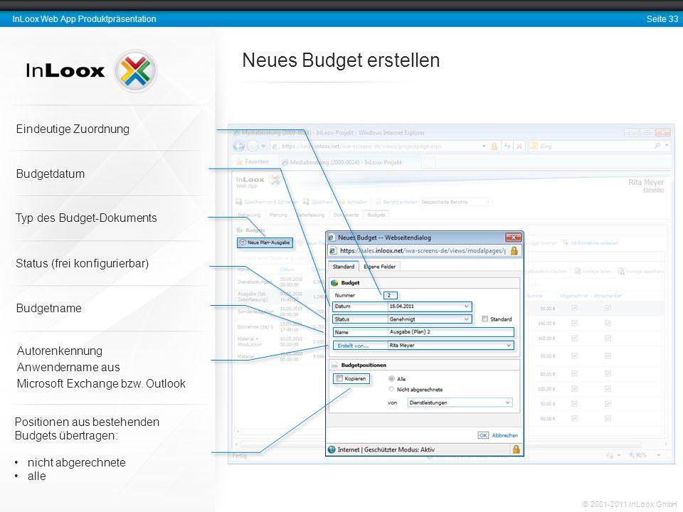 Seite 33 InLoox Web App Produktpräsentation © 2001-2011 InLoox GmbH Neues Budget erstellen Eindeutige Zuordnung Budgetname Autorenkennung Anwendername