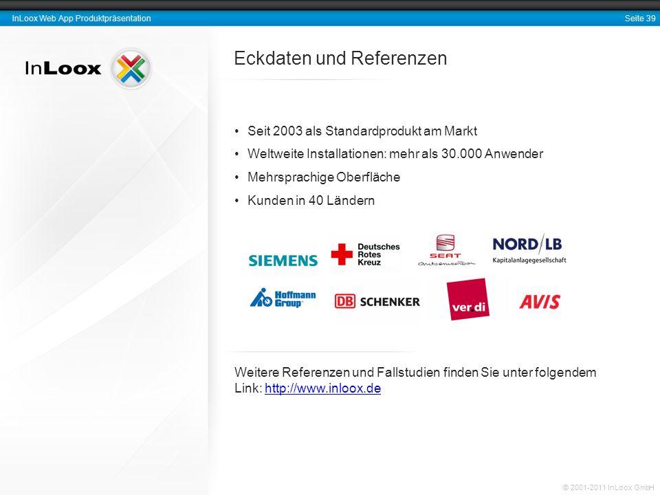 Seite 39 InLoox Web App Produktpräsentation © 2001-2011 InLoox GmbH Eckdaten und Referenzen Seit 2003 als Standardprodukt am Markt Weltweite Installat