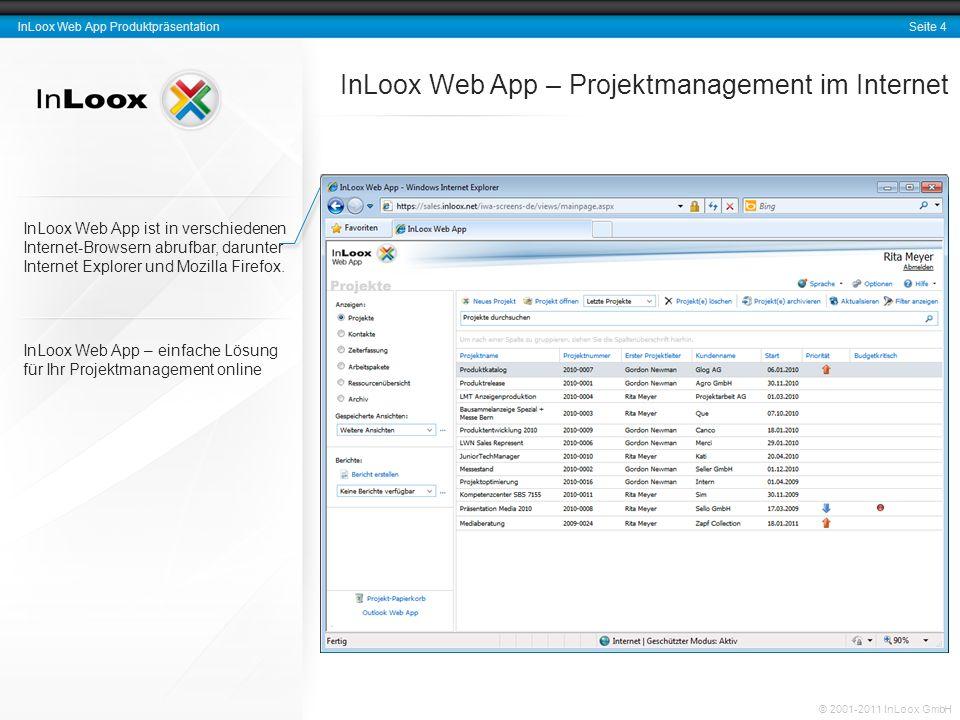 Seite 4 InLoox Web App Produktpräsentation © 2001-2011 InLoox GmbH InLoox Web App ist in verschiedenen Internet-Browsern abrufbar, darunter Internet E