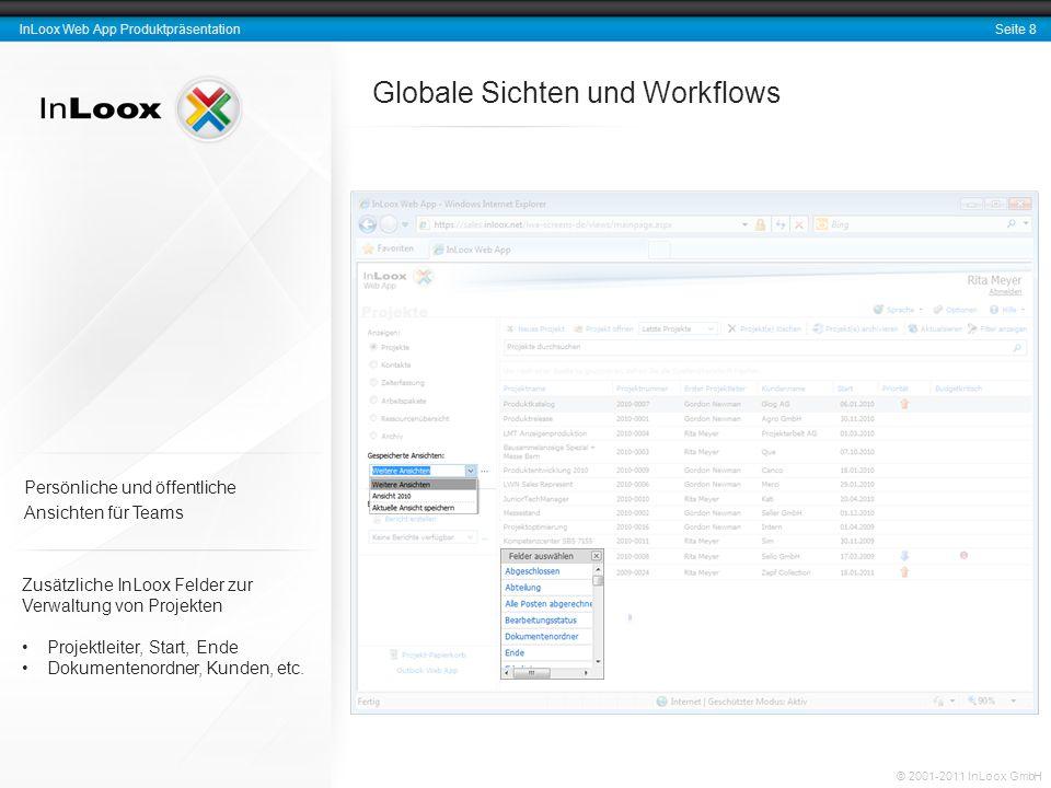 Seite 8 InLoox Web App Produktpräsentation © 2001-2011 InLoox GmbH Globale Sichten und Workflows Zusätzliche InLoox Felder zur Verwaltung von Projekte