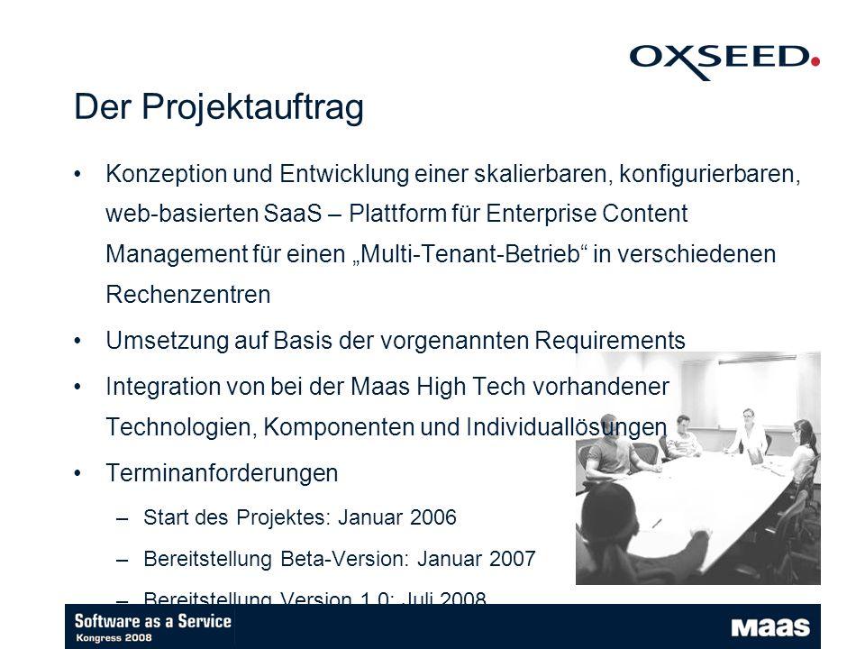Der Projektauftrag Konzeption und Entwicklung einer skalierbaren, konfigurierbaren, web-basierten SaaS – Plattform für Enterprise Content Management für einen Multi-Tenant-Betrieb in verschiedenen Rechenzentren Umsetzung auf Basis der vorgenannten Requirements Integration von bei der Maas High Tech vorhandener Technologien, Komponenten und Individuallösungen Terminanforderungen –Start des Projektes: Januar 2006 –Bereitstellung Beta-Version: Januar 2007 –Bereitstellung Version 1.0: Juli 2008