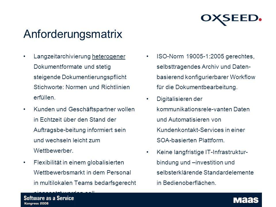 Anforderungsmatrix Langzeitarchivierung heterogener Dokumentformate und stetig steigende Dokumentierungspflicht Stichworte: Normen und Richtlinien erfüllen.